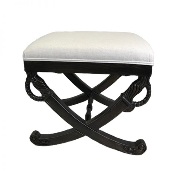 White Ottoman with dark stained wood legs