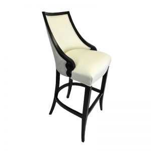 White bar stool with wood legs